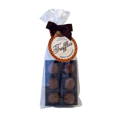 Luxury 6 Truffle Bag - Sweet Mandarin Truffle with Brown Twist Tie Bow & Swing Tag  x Outer of 20
