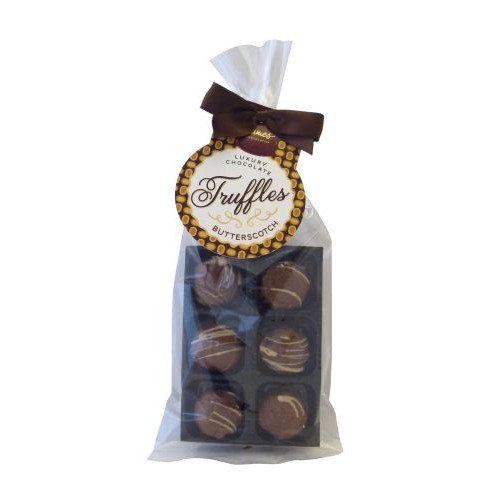 Luxury 6 Truffle Bag - Milk Chocolate with a Butterscotch Flavour Truffle with Brown Twist Tie Bow & Swing Tag x Outer of 20