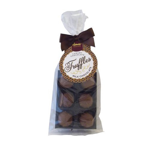 Luxury 6 Truffle Bag - Smooth Milk Truffle with Brown Twist Tie Bow & Swing Tag x Outer of 20