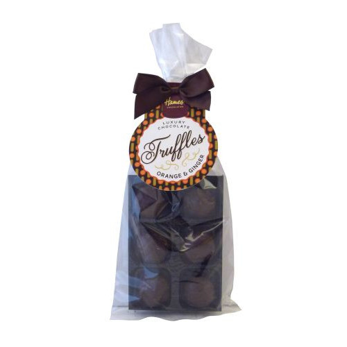 Luxury 6 Truffle Bag - Dark Chocolate with Orange & Ginger Flavour Truffle with Brown Twist Tie Bow & Swing Tag x Outer of 20