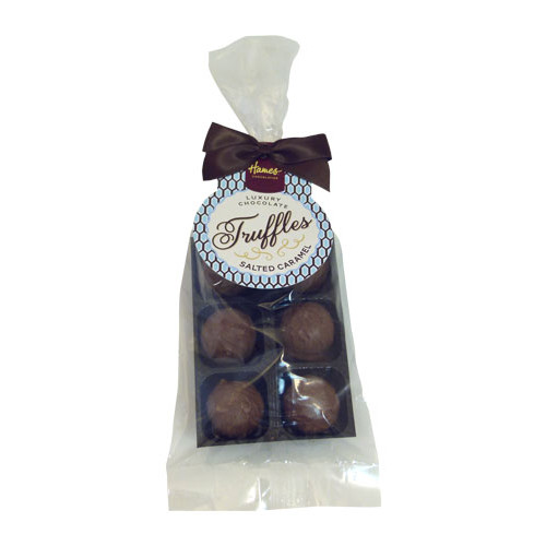 Luxury 6 Truffle Bag - Milk Chocolate Salted Caramel Flavoured Truffle with Brown Twist Tie Bow & Swing Tag x Outer of 20