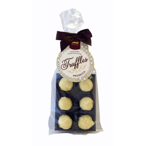 Luxury 6 Truffle Bag - White Chocolate Prosecco Truffle with Brown Twist Tie Bow & Swing Tag x Outer of 20