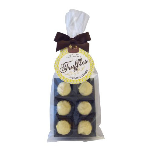 Luxury 6 Truffle Bag - White Chocolate with Sicilian Lemon Flavour Truffle with Brown Twist Tie Bow & Swing Tag x Outer of 20