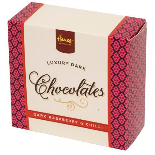Hames - Luxury Box of 4 Dark Raspberry And Chilli Chocolates Truffles
