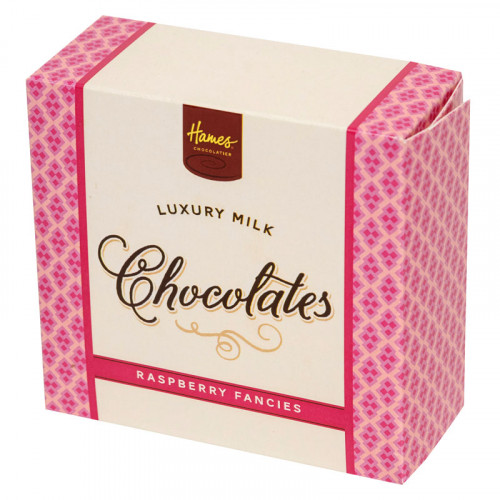 Hames - Luxury Box of 4 Milk Chocolate Raspberry Fancies  x Outer of 18