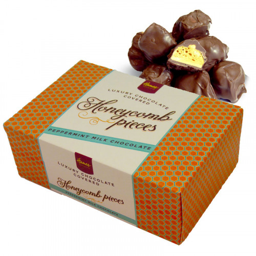 Hames - Luxury Box of Peppermint Milk Chocolate Covered Honeycomb Pieces 150g  x Outer of 12