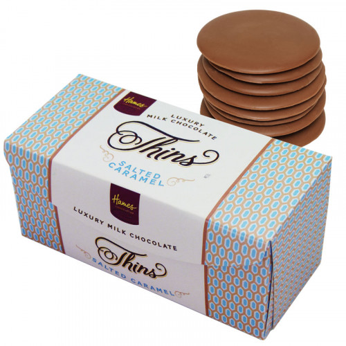 Hames - Luxury Milk Chocolate Salted Caramel Thins 145g  x Outer of 12