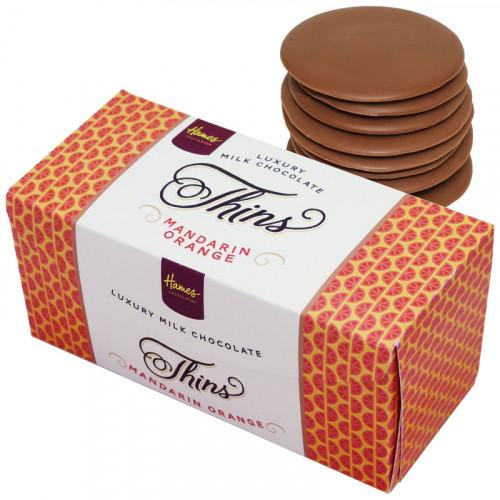 Hames - Luxury Milk Chocolate Mandarin Orange Thins 145g  x Outer of 12