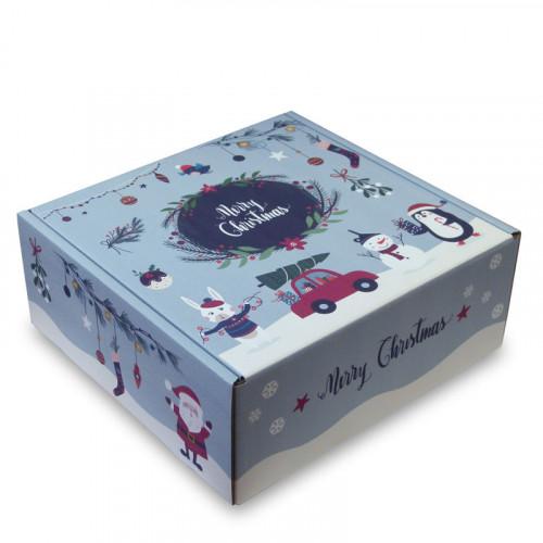 Christmas Printed Hamper Box (Medium/Large) H310mm x W310mm x D125mm (Flat Packed)