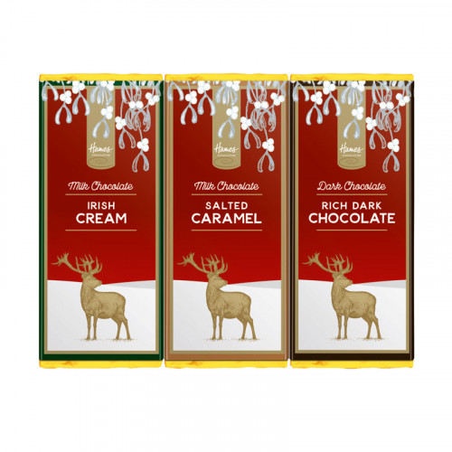 Festive Stag - Trio of 50g Rich Dark Chocolate Bar, Milk Chocolate Irish Cream Flavoured Bar & Milk Chocolate Salted Caramel Flavour Bar Wrapped in Gold Foil Finished with a Festive Wrapper