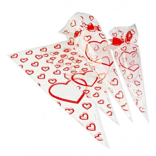 Frosted Printed Film Cone Shaped Bag with a Red Heart Design 180mm x 370mm