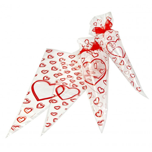 Frosted Printed Film Cone Shaped Bag with a Red Heart Design 250mm x 460mm