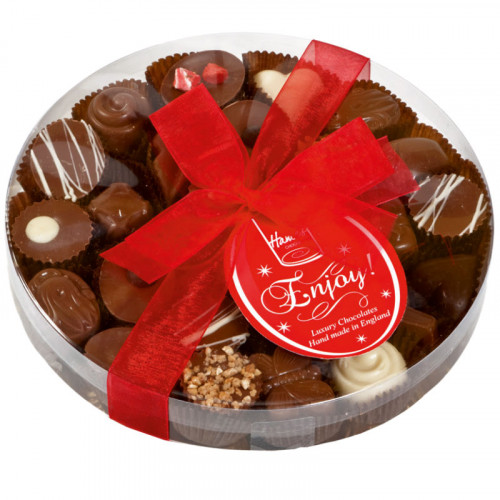 Clearly Enjoyable - Clear Boxed Chocolate Assortment (Large) 220g Finished with a Beautiful Hand Tied Red Ribbon & Swing Tag x Outer of 12