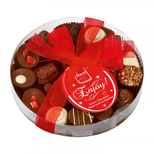 Clearly Enjoyable - Clear Boxed Chocolate Assortment (Medium) 140g Finished with a Beautiful Hand Tied Red Ribbon & Swing Tag x Outer of 12