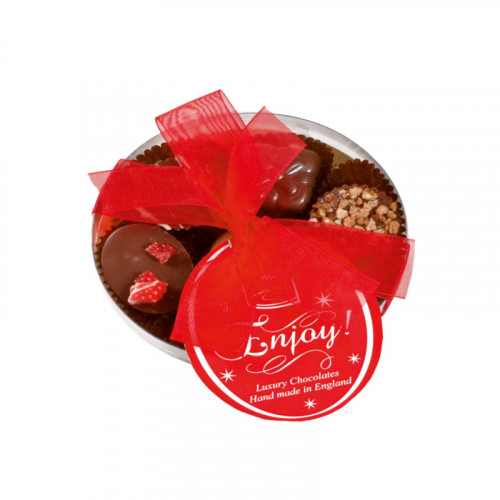 Clearly Enjoyable - Clear Boxed Chocolate Assortment (Small) 100g Finished with a Beautiful Hand Tied Red Ribbon & Swing Tag x Outer of 12