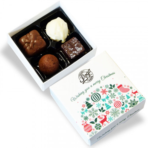 Promotional 4 Chocolate Assortment Presented in a Contemporary Christmas Wishes Box