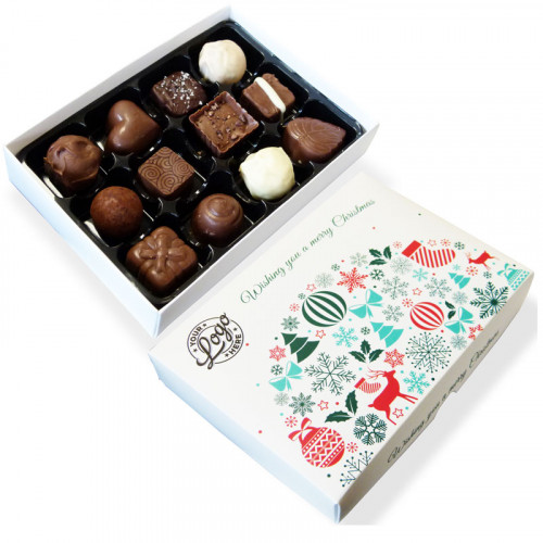 Promotional 12 Chocolate Assortment Presented in a Contemporary Christmas Wishes Box