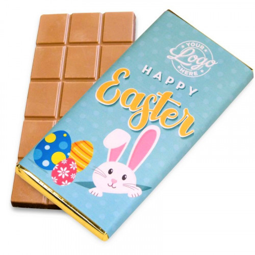 Personalised Milk Chocolate 80g Bar Wrapped in Gold Foil Finished with a Blue Themed Happy Easter Peaking White Rabbit Design Wrapper
