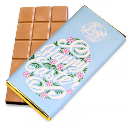 Personalised Milk Chocolate 80g Bar Wrapped in Gold Foil Finished with a Beautiful Blue Themed Happy Easter Flower Design Wrapper