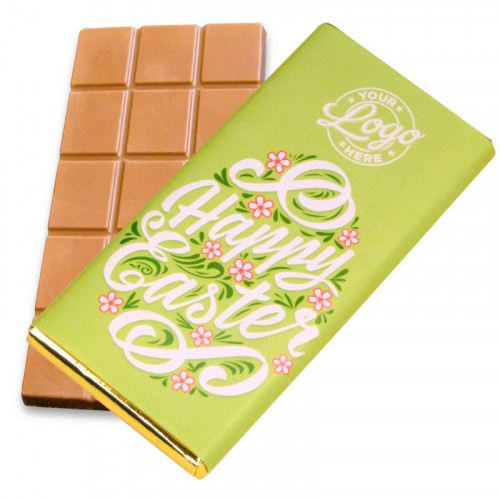 Personalised Milk Chocolate 80g Bar Wrapped in Gold Foil Finished with a Beautiful Green Themed Happy Easter Flower Design Wrapper