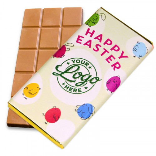 Personalised Milk Chocolate 80g Bar Wrapped in Gold Foil Finished with a Green Themed Happy Easter Bunnies & Chick Design Wrapper Wrapper