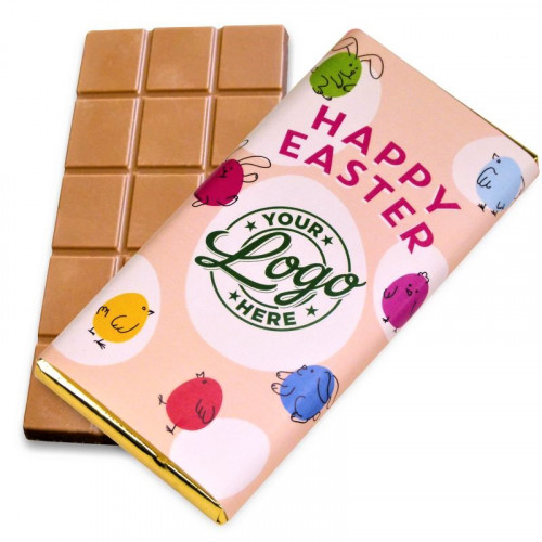 Personalised Milk Chocolate 80g Bar Wrapped in Gold Foil Finished with a Peach Themed Happy Easter Bunnies & Chick Design Wrapper Wrapper