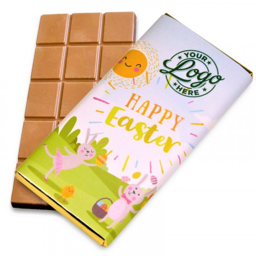 Personalised Milk Chocolate 80g Bar Wrapped in Gold Foil Finished with Happy Easter Bunnies & Sunshine Design Wrapper