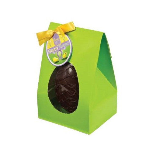 Hames Boxed Easter Egg - Dark 53% Chocolate Egg Decorated with a Dark Chocolate & Coca Nib Inclusions Finished with a Happy Easter Swing Tag & Twist Tie Bow 200g x Outer of 6