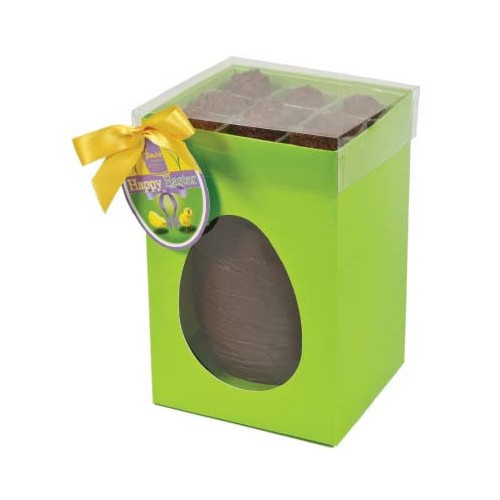 Hames Boxed Easter Egg - Dark 53% Chocolate Egg With Flaked Dark Chocolate Truffles Finished with a Happy Easter Swing Tag & Twist Tie Bow 305g x Outer of 6