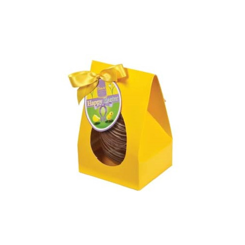 Hames Boxed Easter Egg - Milk Chocolate & English Toffee Flavouring Decorated with a White Chocolate Swirl Finished with a Happy Easter Swing Tag & Twist Tie Bow 100g x Outer of 6