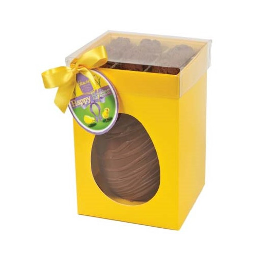 Hames Boxed Easter Egg - Milk Chocolate Egg With Flaked Milk Chocolate Truffles Finished with a Happy Easter Swing Tag & Twist Tie Bow 305g