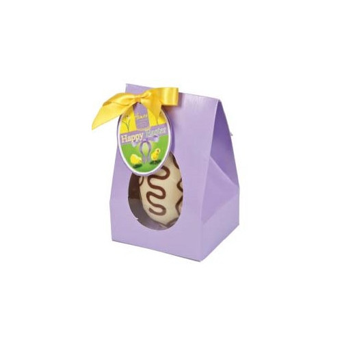 Hames Boxed Easter Egg - White Chocolate Egg Decorated with a Milk Chocolate Swirl Finished with a Happy Easter Swing Tag & Twist Tie Bow 100g