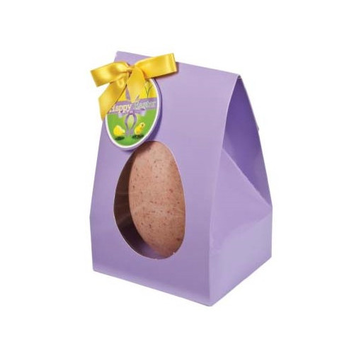 Hames Boxed Easter Egg - White Chocolate Egg With Raspberry Flavouring Finished with a Happy Easter Swing Tag & Twist Tie Bow 200g x Outer of 6