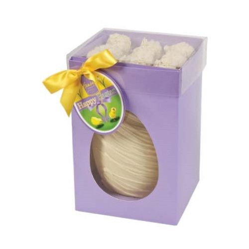 Hames Boxed Easter Egg - White Chocolate Egg With Flaked White Chocolate Truffles Finished with a Happy Easter Swing Tag & Twist Tie Bow 305g x Outer of 6