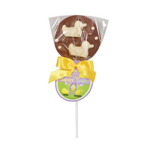 Hames Easter Lollies - Milk Chocolate Lollipop Decorated With 2 White Chocolate Duck Finished with a Happy Easter Swing Tag and Twist Tie Bow