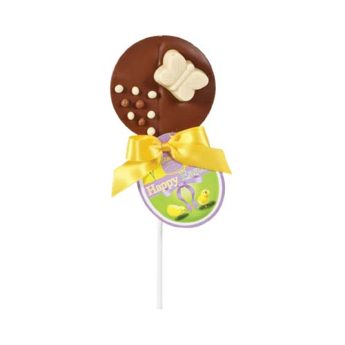 Hames Easter Lollies - Milk Chocolate Lollipop Decorated With A White Chocolate Butterfly Finished with a Happy Easter Swing Tag and Twist Tie Bow