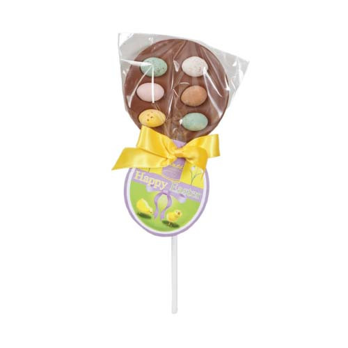 Hames Easter Lollies - Milk Chocolate Lollipop Decorated With Speckled Eggs Finished with a Happy Easter Swing Tag and Twist Tie Bow x Outer of 27