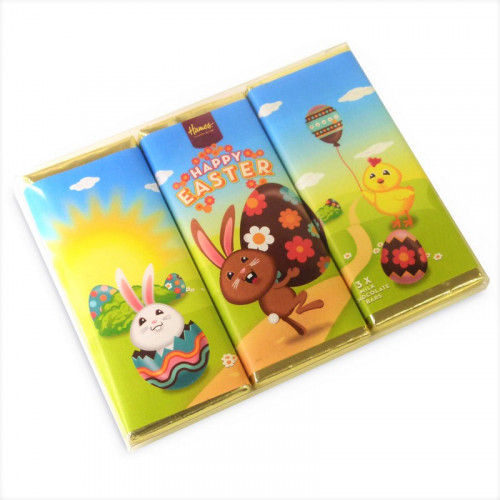 Hames - Happy Easter 50g Trio Milk Chocolate Bars Presented in a Clear PVC Sleeve Wrapped in Gold Foil Finished with 3 Cute Easter Wrapper Designs