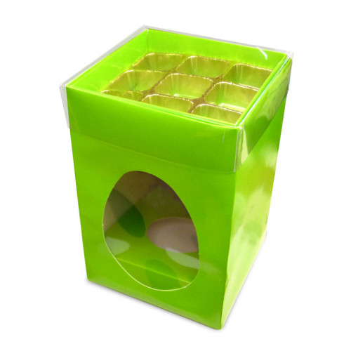 Elegant Large - Easter Green Egg Carton with a Built in 9 Truffle Box, Gold Cav Tray & PVC Lid 190mm x 125mm x 115mm