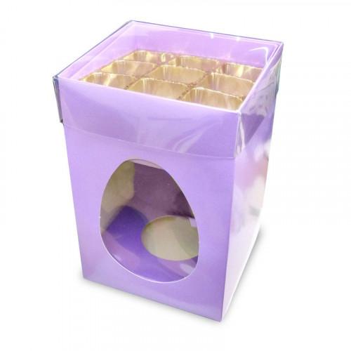 Elegant Large - Lilac Egg Carton with a Built in 9 Truffle Box, Gold Cav Tray & PVC Lid 190mm x 125mm x 115mm