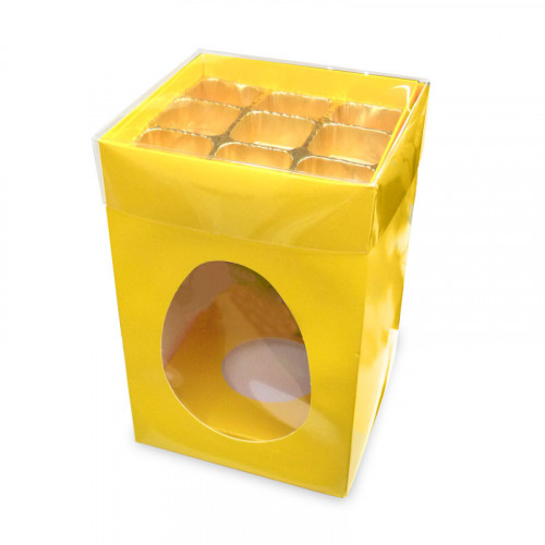 Elegant Large - Sunflower Yellow Egg Carton with a Built in 9 Truffle Box, Gold Cav Tray & PVC Lid 190mm x 125mm x 115mm