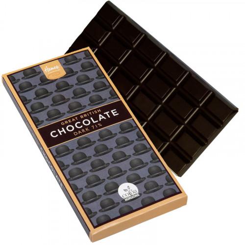 Great British Range - Dark Chocolate Bar with a Black Bowler Hat Design 80g Vegan Friendly (Cocoa Horizons)
