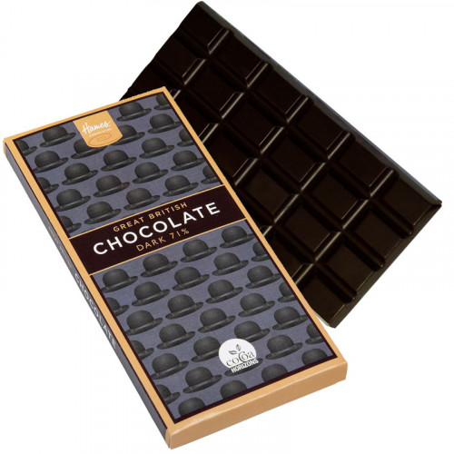 Great British 71% Dark Chocolate Bar - Black Bowler Hat Sleeve 94g (Cocoa Horizons) x Outer of 12