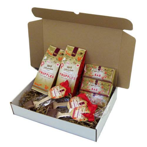 Festive Christmas Deluxe Family Gift Selection of Festive Truffles, 50g Chocolate Bars & a Selection of Hot Chocolate Stirrers