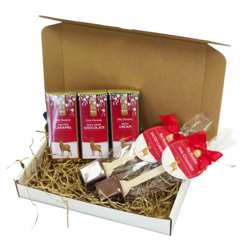 Festive Stag Gift Box of Selection With 2 Festive Hot Chocolate Stirrers & a Trio Selction of 50g Chocolate Bars