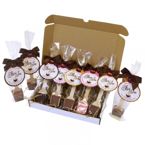 Hames - Gift Selection of 8  Hot Chocolate Stirrers Finished with Satin Brown Twist Tie Bows & Swing Tags 35g