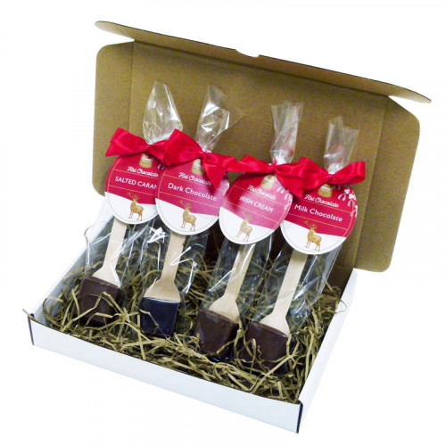 Festive Stag Gift Box of Selection Festive Hot Chocolate Stirrers Finished With a Red Twist Tie Bow & Contemporary Festive Swing Tag