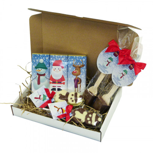 A Very Woolly Christmas Eve Gift Selection of 50g Christmas Themed Chocolate Bars, 2 Snowman Chocolate Lollies & 2 Hot Chocolate Stirrer
