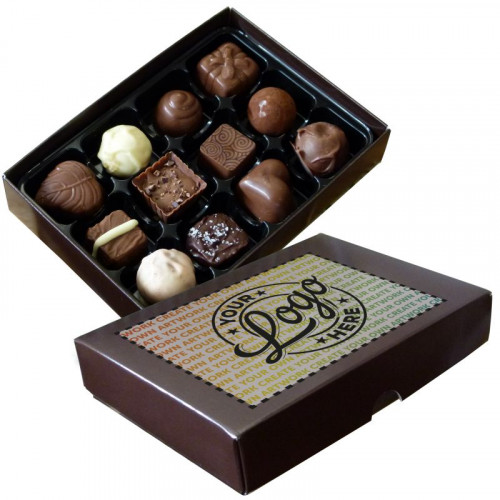 Promotional - 12 Chocolate Assortment Presented in a Brown Box Finished With A Full Colour Digital Print on Lid
