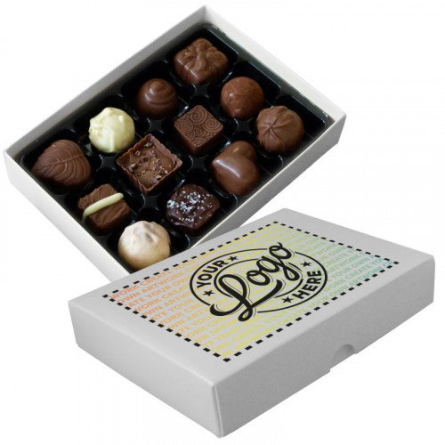 Promotional - 12 Chocolate Assortment Presented in a White Box Finished With A Full Colour Digital Print on Lid